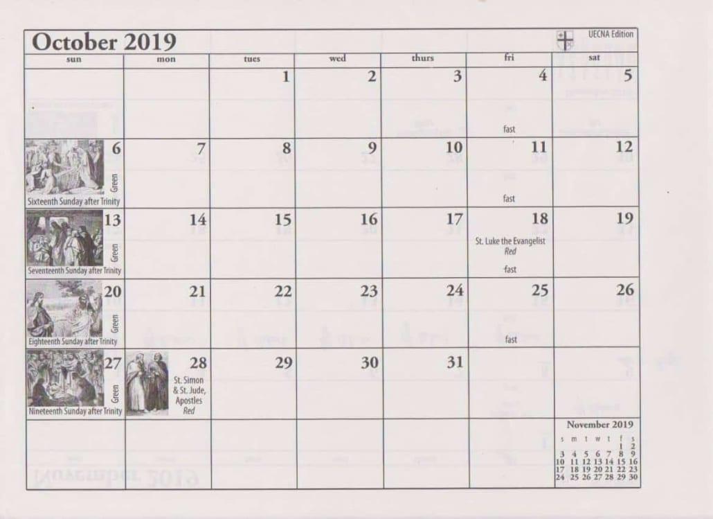 2019 Ordo Calendar